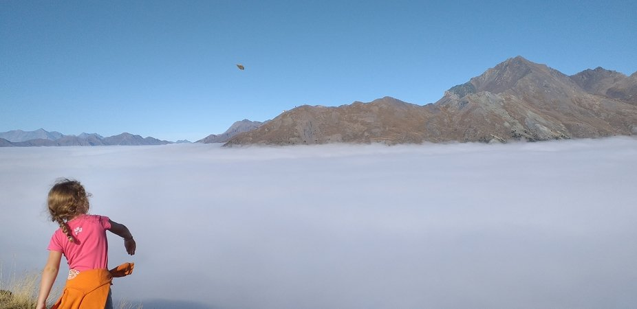 I went hiking with my 5 years old daughter, when she saw the fog at first she wanted to jump on i...