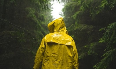 Man In yellow raincoat walks through the forest.