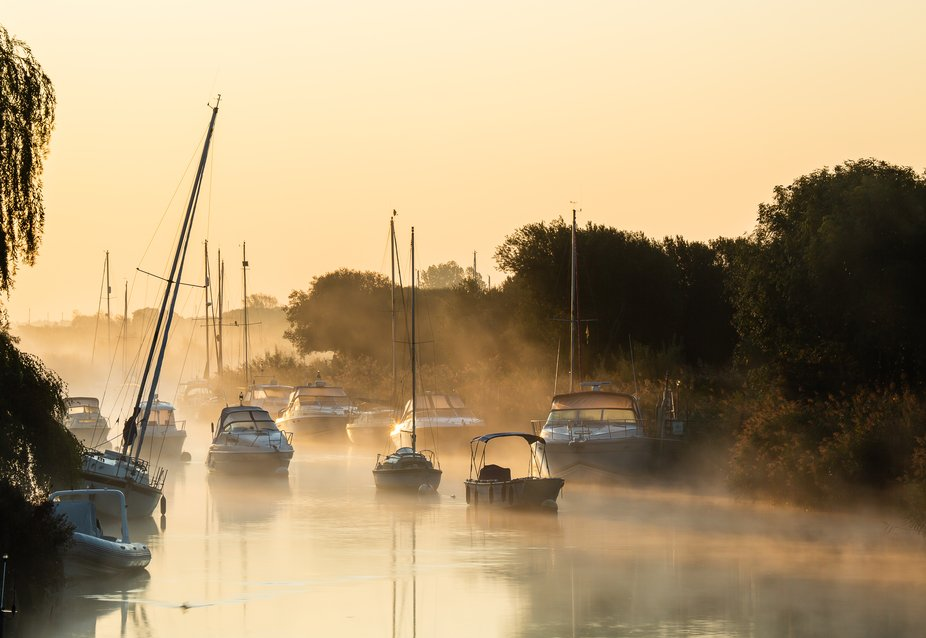 sunrise River Frome at Wareham, England
