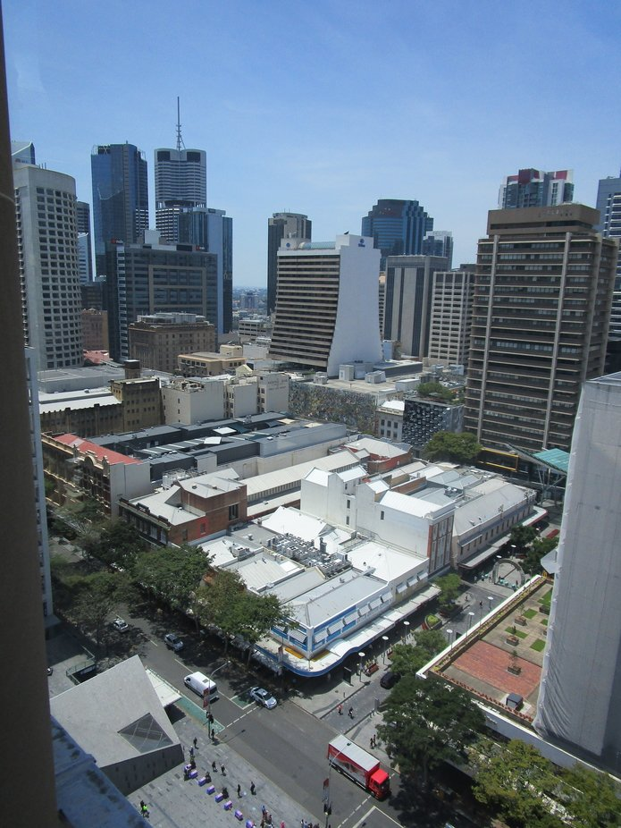 Looking down on the Brisbane Central Business District from the old Clock Tower with Brisbane&...
