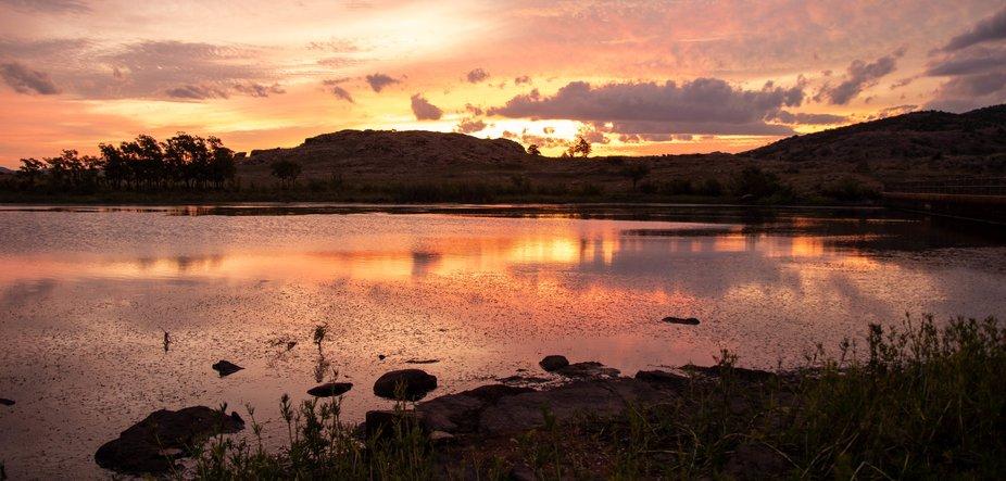 Sunrise Crater Lake, Wichita Mountains Wildlife Refuge