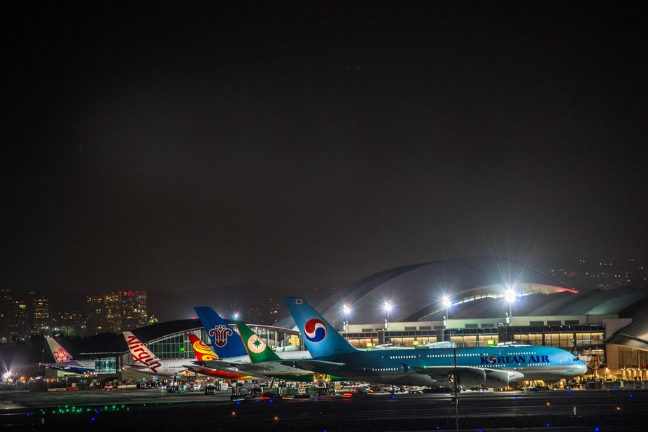 A view from Clutter Park In El Segundo, Ca , overlooking LAX at night.