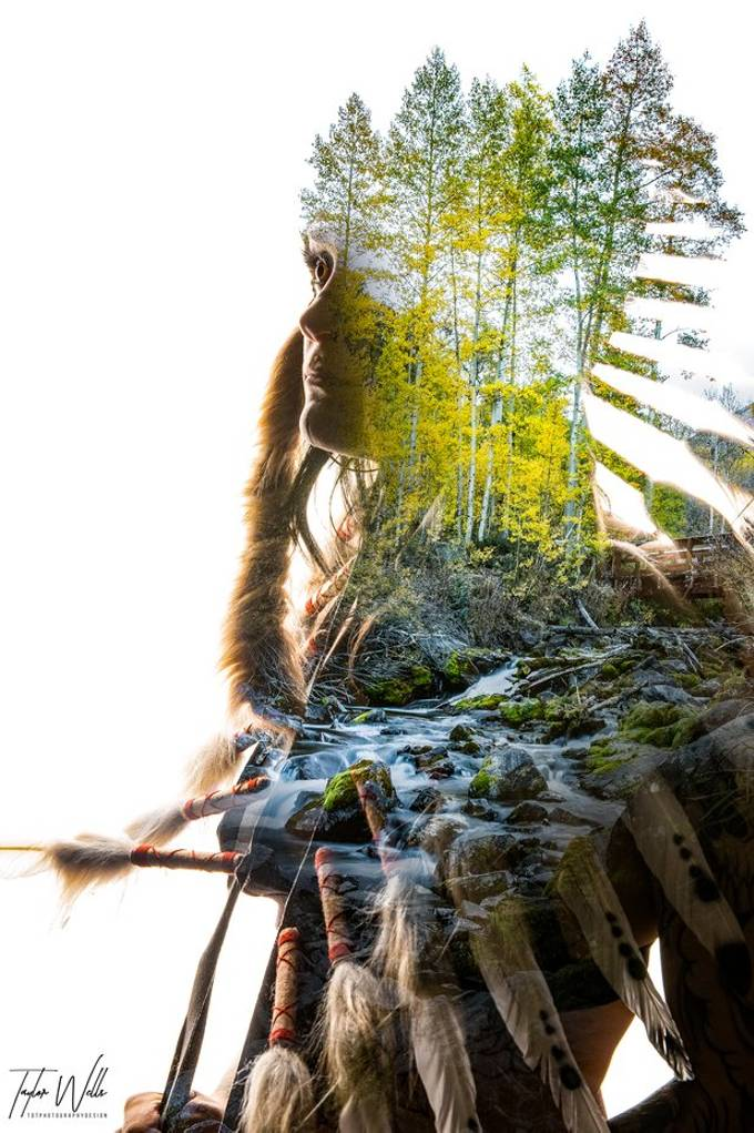 This is a fun double exposure I created using the fall colors changing close to Aspen Colorado right next to the Maroon Bells.