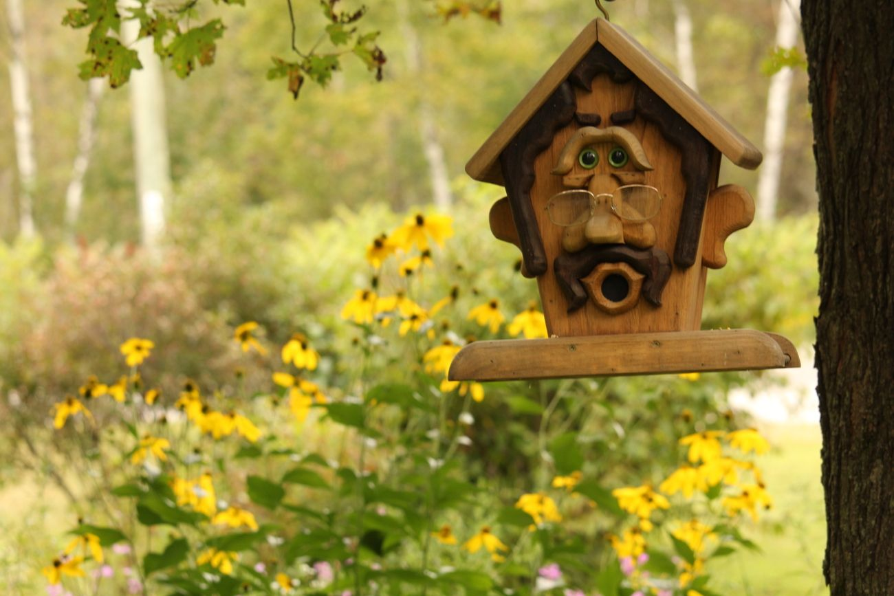 Took this image on a bright sunny day in early September 2019. This bird feeder has so much detail and expression, I had to capture the image.