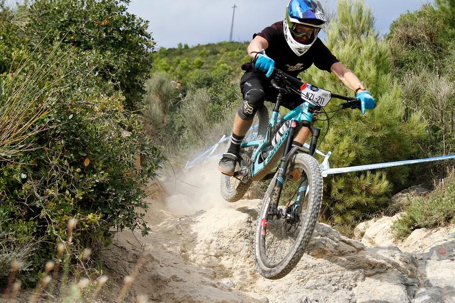 Rider on DH men stage on finale Ligure Ews