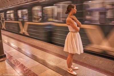 Ballet Dancer in Mayakovskaya Metro Station