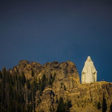 Our lady of the rockies. The base is 8,510 feet above sea level and 3,500 feet above the town. The statue sits on private land and is lit and visible at night. The statue was originally conceived by Butte resident Bob O'Bill in 1979 as a tribute to the Virgin Mary following the recovery of his wife from cancer.  Many of my photos are for sale, please click over to my photography store and take a peek. I have something for just about anyone who loves nature.