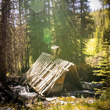 Within the ghost town of Coolidge, Montana there are many structures which are from the 1800's. Most of them are broken down or falling down like this log home. Originally it looked as if the home was on the opposite side of the creek and had fallen into the creek over time. The creek now runs through and under the roof, making for a spectacular view. Caught this early in the afternoon to get the sun rays peeking through the trees behind it.  Many of my photos are for sale, please click over to my photography store and take a peek. I have something for just about anyone who loves nature.