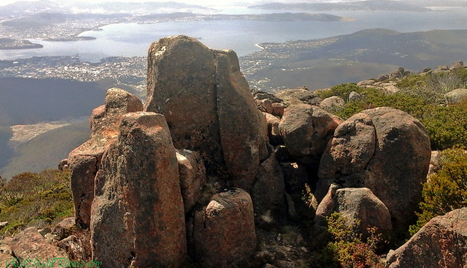 Looking down over Hobart from Mount Wellington.