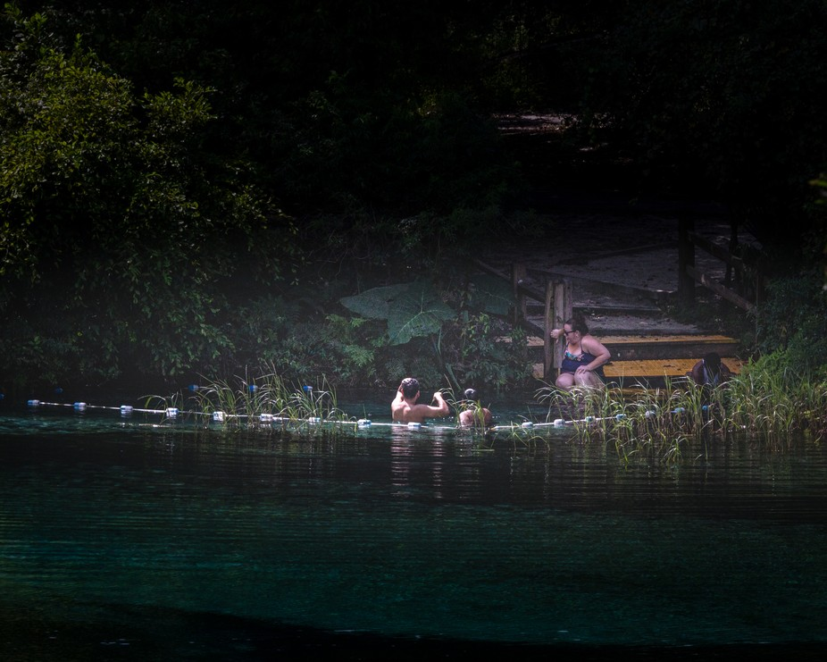 These people were taking a dip in the Rainbow River around dusk, and the light was perfect for th...