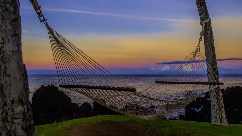 sunrise on the beach in a hammock on the Big Island in Hawaii