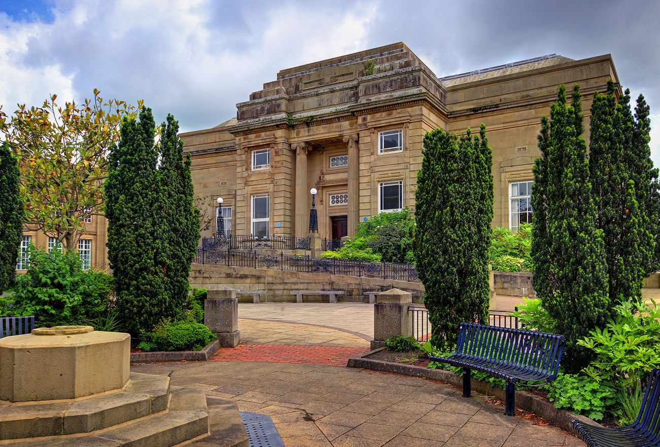 The central library in Burnley, Lancashire, viewed from the garden area