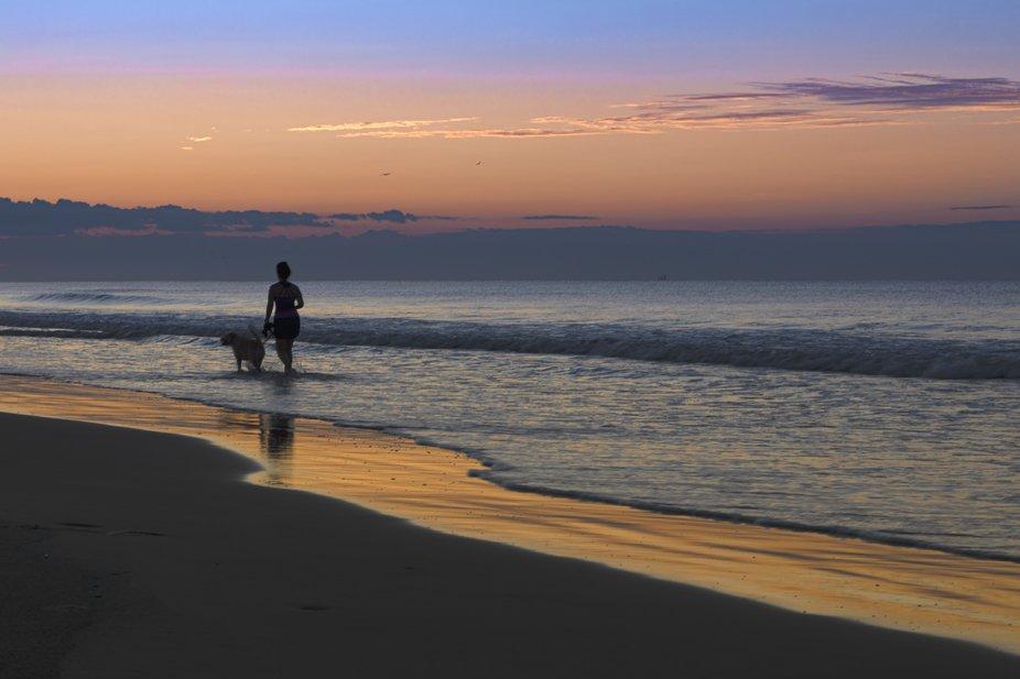 Woman walking dg at sunrise on the beach