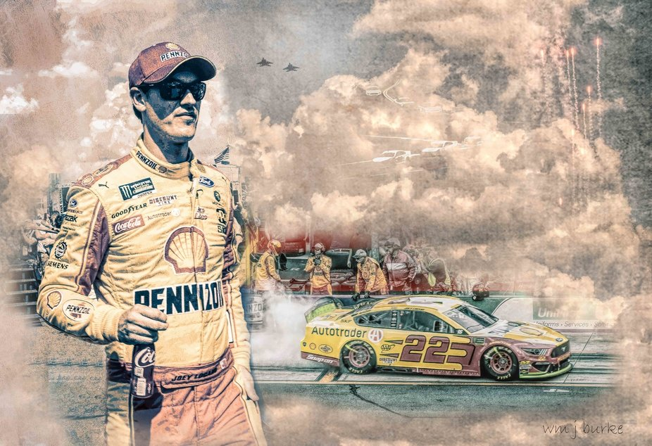 collage of NASCAR champ Joey Logano from photo's I took at Charlotte Motor Speedway