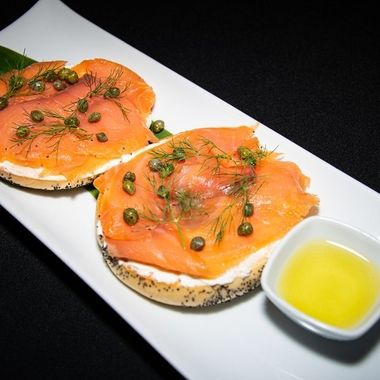 smoked salmon and cream cheese bagel