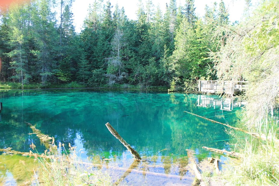Kitch-iti-Kipi is a fresh water spring that is 200 feet across and 40 feet deep. Its crystal clea...