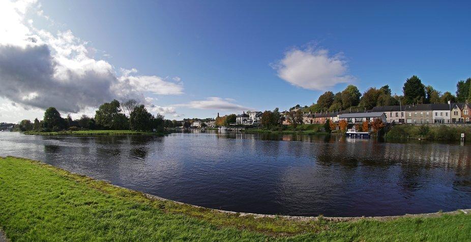 The river Erne  as it flows around the island of Enniskillen