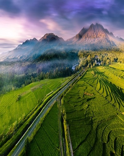 natural beauty of the beautiful mountains with green rice fields, protected forests and small rivers in north bengkulu, indonesia