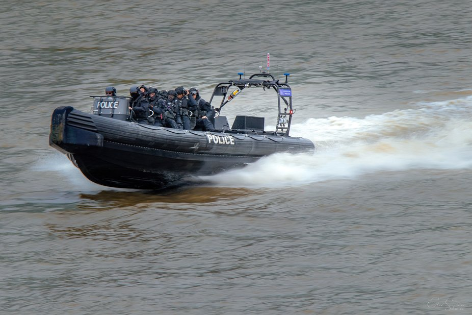 Met Police  on the Thames.