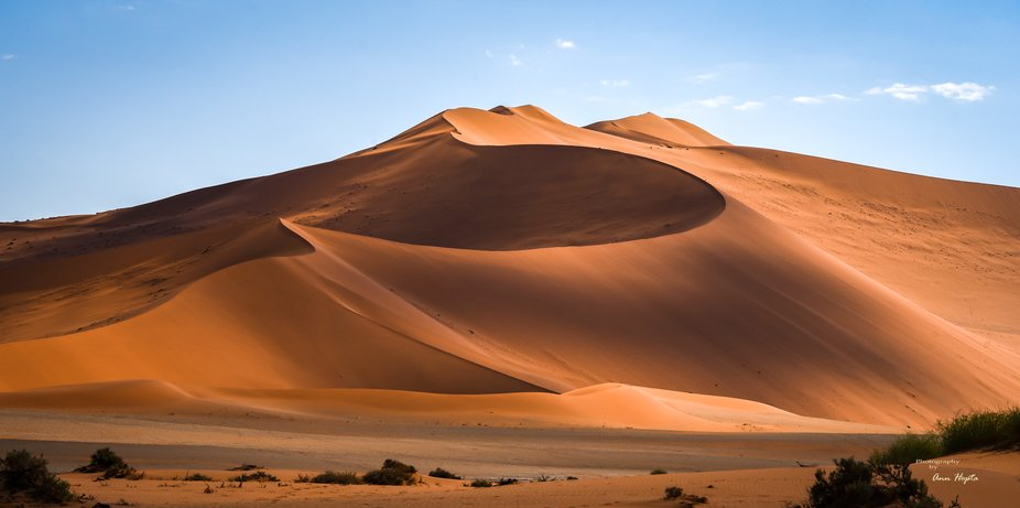 These red dunes were amazing.  The way they captured the light and the shadows that were created....