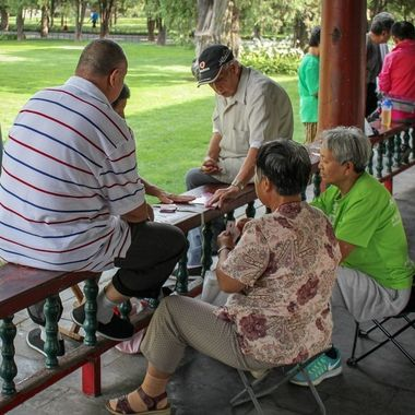 The local love to play various games outside. This image was captured outside the Temple of Heaven, Beijing, China.