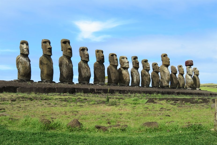 Ahu Tongariki houses the largest stone platform on Easter Island. This platform, known as an ahu,...