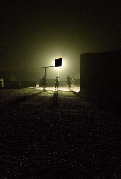 Midnight hoops in a sandstorm, Camp Victory, Iraq