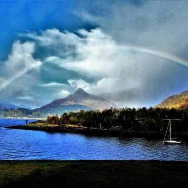 Loch Leven view from my Hotel interesting weather creating a lovely rainbow