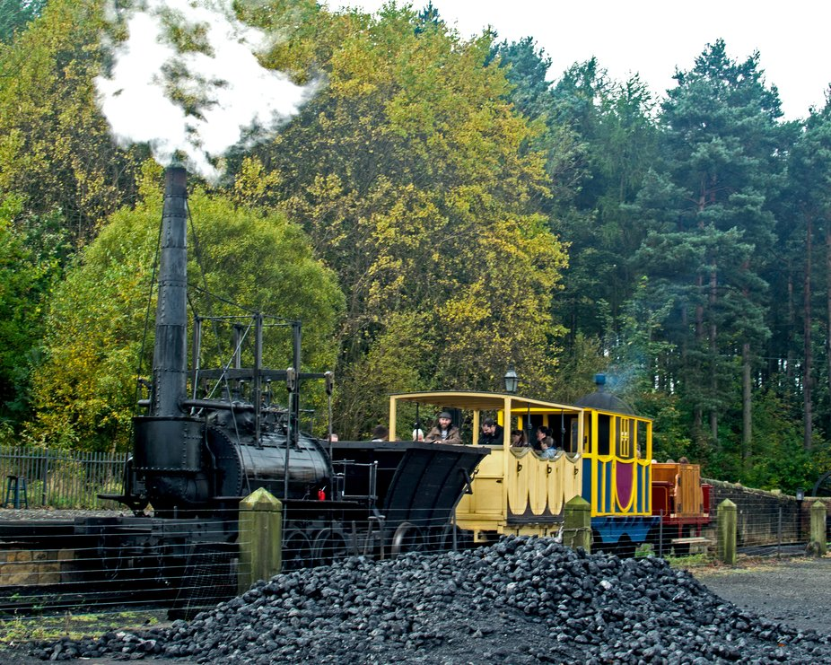 The Elephant in Autumn. Steam engine The Elephant at Beamish Museum.