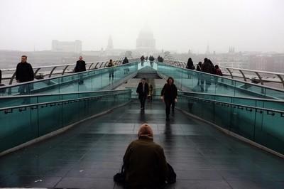 Homeless man, Millennium Bridge
