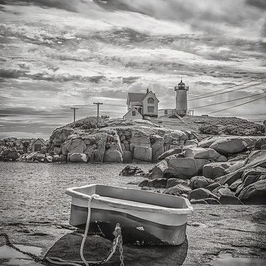 Maine lighthouse rowboat