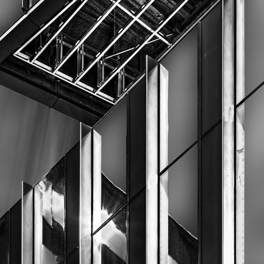 Angle view of curtain wall and soffit