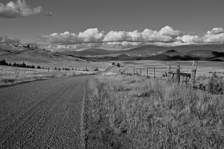 B/W from ranch road that shows more of a wider angle to focus on panoramic view. Early afternoon ...