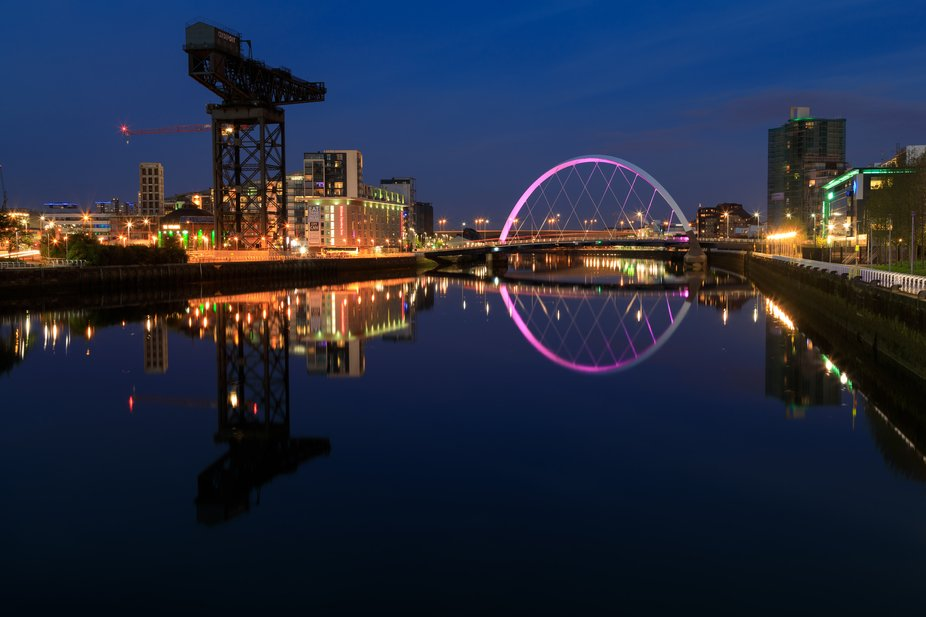 The Clyde Arc, Finnestston Crane and Waterfront, River Clyde, Glasgow