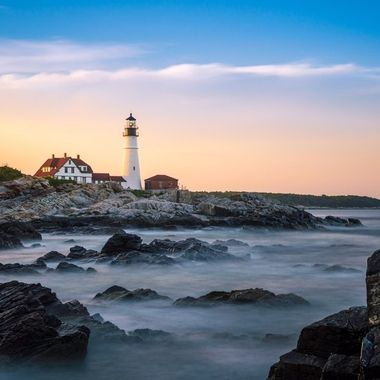 Longe exposure of the Portland Head Lighthouse in Cape Elizabeth Maine