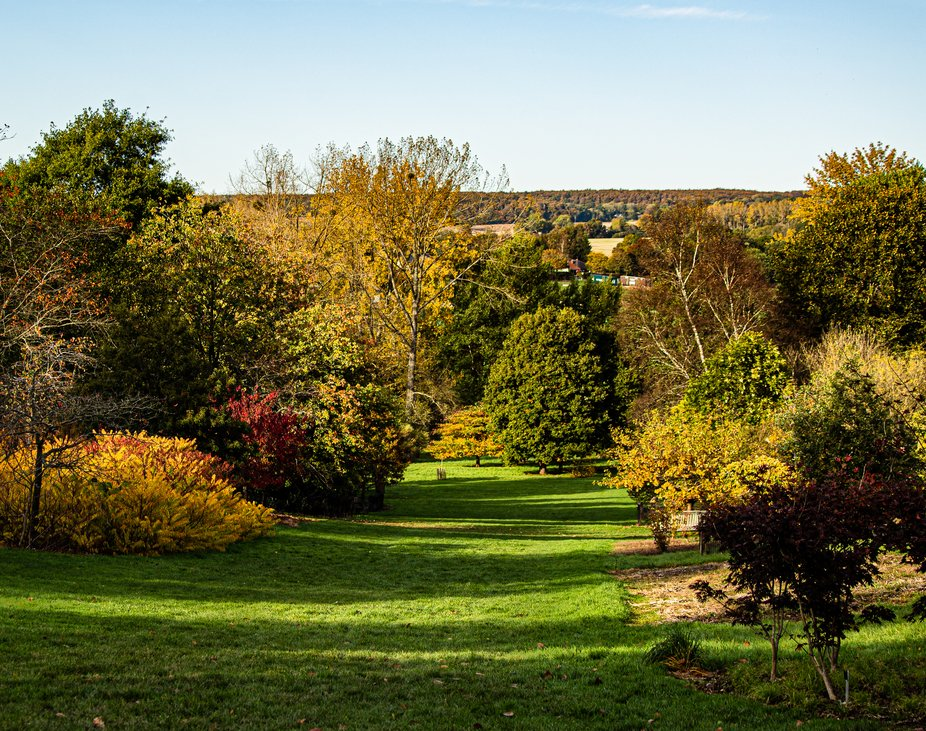 Landscape view from Hillier Gardens, Romsey UK. Autumn has begun and everything is changing color.