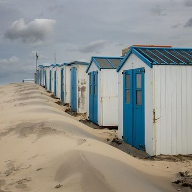 Beach houses on the beach of Texel, Holland