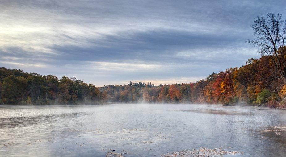 The mist at sunrise on Lake Minnewanna at Metamora Hadley State Park.