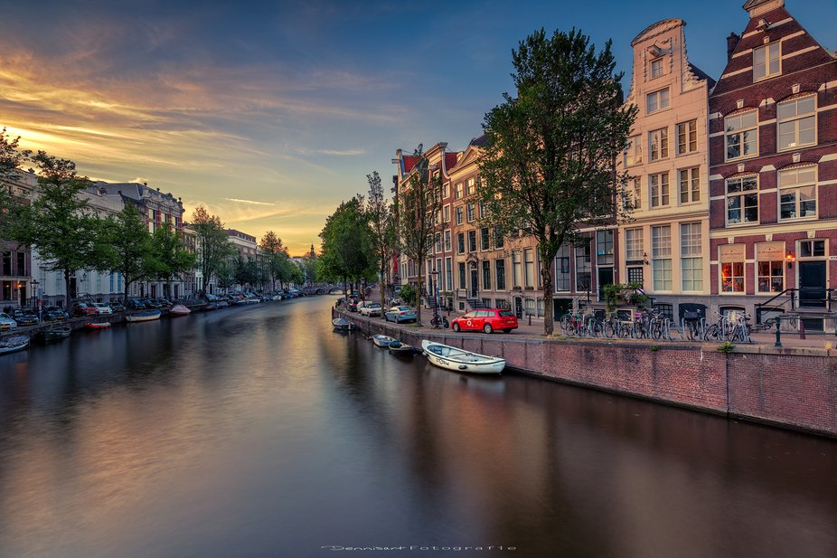 Amsterdam canal during the sunset