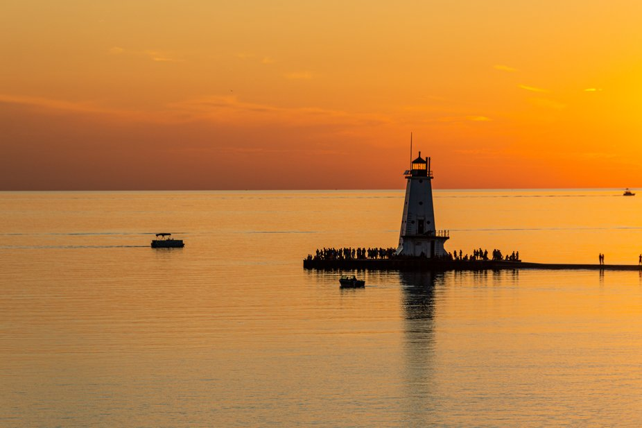The view while leaving the Ludington, MI harbor on the overnight  S.S. Badger ferry.