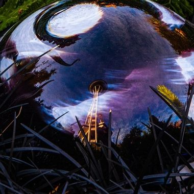 I thought this was a great effect with the Space Needle Reflection in one of Chihuly's pieces of art. 
