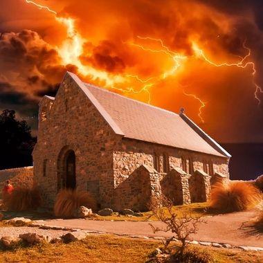 Historic church on Lake Tekapo in NZ