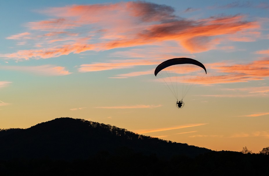 Coming in for a landing, what a beautiful end to a ride with a sunset on your coattails.