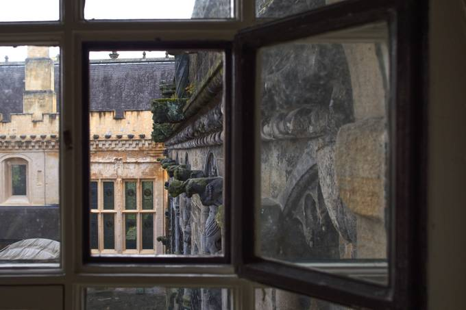 Through the hinged window pane at Stirling Castle.