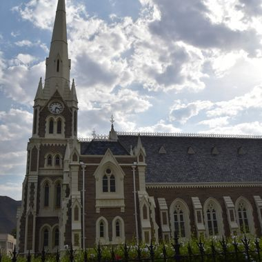 NG Mother Church Graaf Reinet. Church is in center of the town.