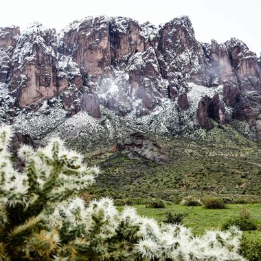 Snow capped Superstition Mountains.