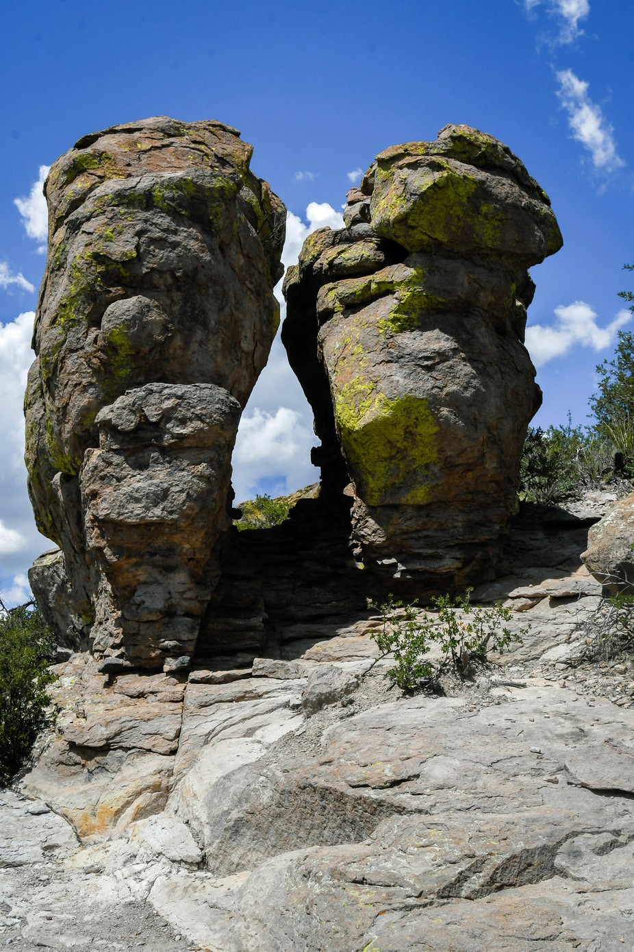 Massive boulders standing side by side at Massai Point in Chiricahua National Monument.
