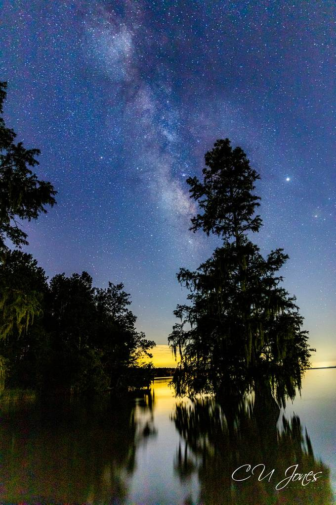 So much light pollution from a town at the bottom of Lake Moultrie