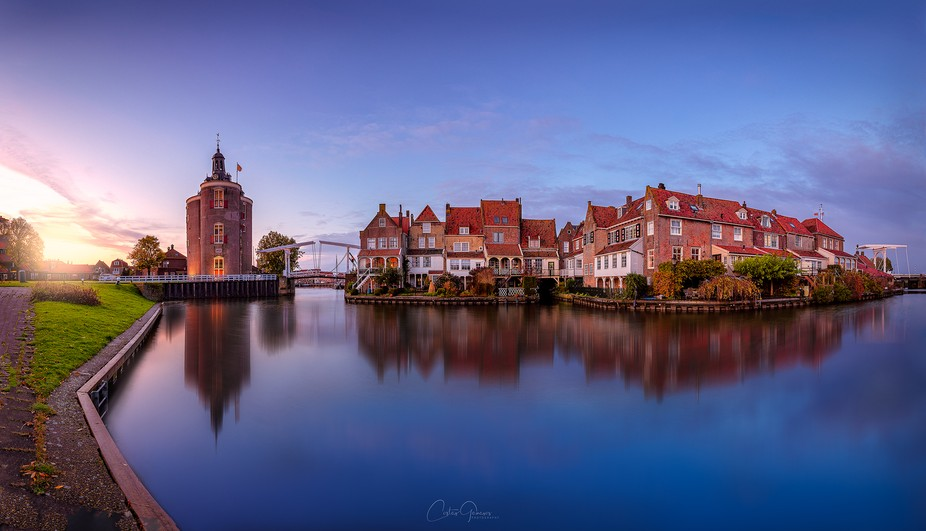 A beautiful panoramic sunset in the small city of Enkhuizen in the Netherlands