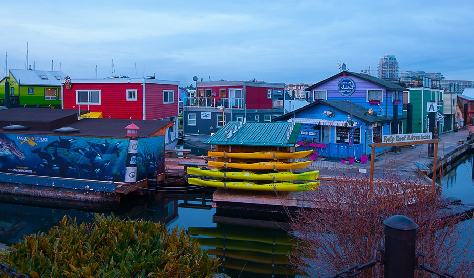 A unique community in Victoria BC Canada. Float homes and businesses exist side by side. A big to...